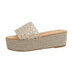 Papuci sic, aurii, cu platforma, 38 - 40, Auriu