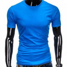 Tricou barbati bleu simplu slim fit mulat pe corp bumbac S884