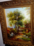 Tablou pictat manual ulei panza, Peisaj padure, pictura in cutit, tablou inramat, Peisaje, Realism