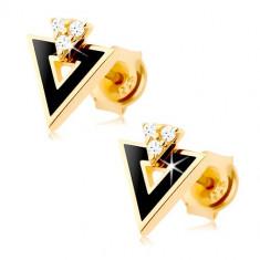 Cercei realizați din aur galben de 9K - triunghi negru cu decupaj, zirconii transparente