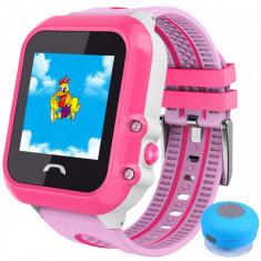 Ceas GPS Copii, iUni Kid27, Touchscreen 1.22 inch, BT, Telefon incorporat, Buton SOS, Roz + Boxa Cadou