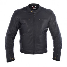 Geaca piele neagra Oxford cu protectii soft ideala scuter moto