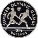Jamaica 25 Dollars 1988 - (Relay Runners) Argint 23.33g/925, Aoc1 KM-100 UNC !!!