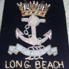 Emblema veche Marina cu fir aur/argint,,LONG BEACH CALIFORNIA RNA,,T.GRATUIT