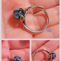 Inel original Trollbeads argint si murano flori albastre