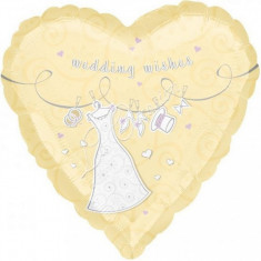 Balon nunta inima din folie 43cm Bride Wedding Wishes