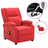 Fotoliu de masaj rabatabil electric, roșu, piele ecologică, vidaXL