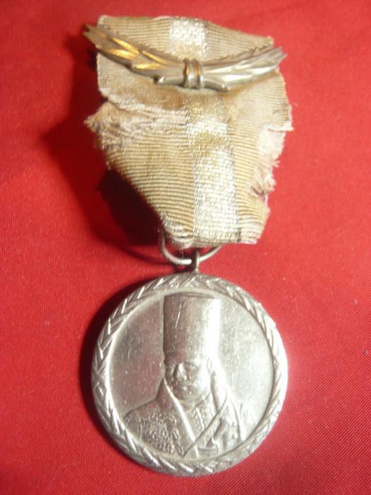 Medalie Tudor Vladimirescu cl.I argintata , cu lauri , panglica cu reparatii