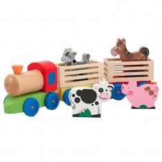 Trenulet cu 4 animale si 2 vagoane, Multicolor