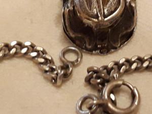 MEDALION argint SCARABEU exceptional EGIPT 1900 de efect RAR pe Lant ARGINT