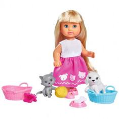 Set Papusa Evi Love Dog and Cat 12 cm cu Catel, Pisica si Accesorii