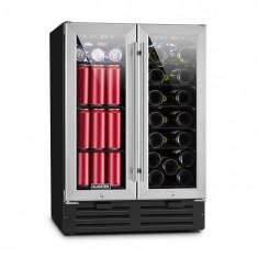 Klarstein Beersafe Saloon, frigider dublu pentru vin, 116 L, 18 sticle, sticlă, oțel