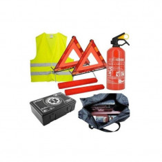 Set complet siguranta auto trusa medicala , 2x triunghiuri, stingator, vesta, geanta