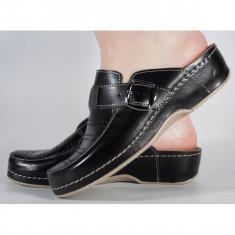 Saboti/Papuci MUBB negri din piele naturala (cod 250)