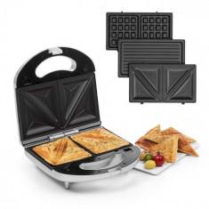 Klarstein Trilit 3 v 1, sandwich-maker, 750 W, plăci de grătar, LED, suprafață antiaderentă, argintiu