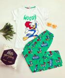 Pijama dama bumbac ieftina cu tricou alb si pantaloni verzi cu imprimeu WY