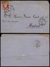 Spain 1859 Postal History Rare Cover Barcelona to Madrid DB.190 foto