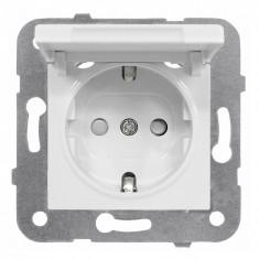Priza simpla Schrack Visio50 EV101005 protectie copii capac incastrat alb conexiune elastica