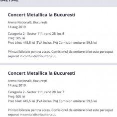 Bilete categ 2 concert Metallica (2 buc) 14 august 2019 Bucuresti National Arena
