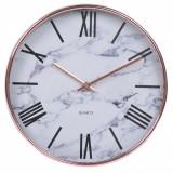 Ceas decorativ de perete, model marmura, 30,5 cm, alb/auriu