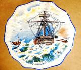 C370- Platou vechi La Tempete Olanda manual pictat portelan-ceramica. Stare F.B.