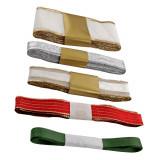 Set 5 panglici decorative Craciun, textile, 3 m, Multicolor