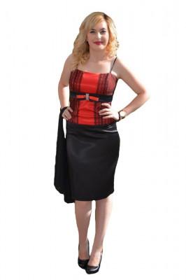 Costum de ocazie cu corset rosu si fusta neagra, realizat din saten foto