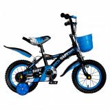 Bicicleta baieti Rich Baby T1204C 12 inch C-Brake cu roti ajutatoare 2-4 ani negrualbastru