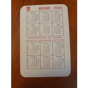 calendar de buzunar din anul 1981