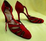 Argentina Pantofi tango rosii High class NOI, Alta, Din imagine, Cu toc