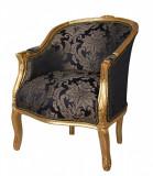 Fotoliu din lemn masiv auriu cu tapiterie albastra CAT660A34