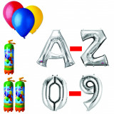 Cumpara ieftin Pachet 15 baloane numere / cifre argintii la alegere, 3 butelii heliu, 100 baloane latex 26cm standard
