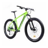 Bicicleta MTB Fat Bike Drumuri Grele Pro Pegas, roti 27.5 inch, 10 viteze, frane disc hidraulice, cadru aluminiu, maxim 100 kg, Verde/Negru