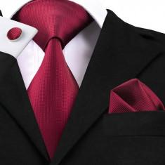 Set cravata + batista + butoni - matase naturala 100% - wine red