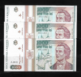 LOT 3 BANCNOTE 1000 1 000 LEI 1993,  NECIRCULATE, SERII CONSECUTIVE
