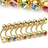 Inel sprânceană - model auriu cu zircon - Dimensiune: 1,2 mm x 10 mm x 4 mm, Culoare zirconiu piercing: Tanzanit - TZ