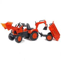Tractor cu pedale Kubota cu cupa, remorca, excavator si scaun rotativ, Falk
