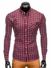Camasa pentru barbati, rosu, cu model, slim fit, casual, buzunar piept, cu guler - k394 foto