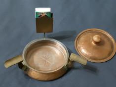 Scrumiera veche din bronz cupru si sticla foto