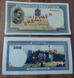 REPRODUCERE  bancnota specimen 1936-500_leii Romania