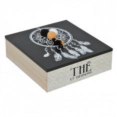 Cutie pentru depozitare din lemn, model cu talisman, 16x16x5 cm