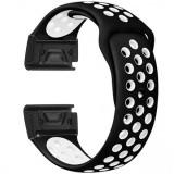 Curea ceas Smartwatch Garmin Fenix 3 / Fenix 5X, 26 mm iUni Silicon Sport Negru-Alb