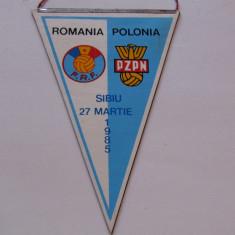 Fanion meci fotbal ROMANIA - POLONIA (27.03.1985)