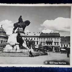 CLUJ - STATUIA MATEI CORVIN , CARTE POSTALA ILUSTRATA , MONOCROMA , CIRCULATA , DATATA 1938