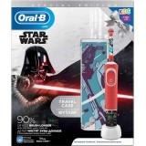 Periuta de dinti electrica Oral-B Vitality Star Wars pentru copii 7600 oscilatii/min, Curatare 2D, 2 programe, 1 capat, 4 stickere incluse, Trusa de c