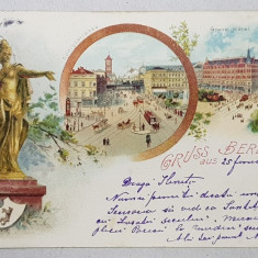 GRUSS AUS BERLIN , CARTE POSTALA ILUSTRATA , CROMOLITOGRAFIE , CIRCULATA , CLASICA , DATATA 1902