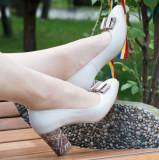 Pantofi dama eleganti din piele Ninna Art A41 crem, 34 - 40, Bej, Cu toc