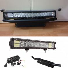 Set proiector led bar 60cm 324w cu mini bullbar si suport numar + kit releu
