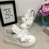 Pantofi albi de lac cu urechi si fundita balerini fete 26 28, Din imagine