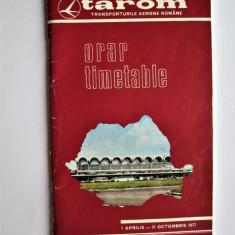 Carticica Tarom: Orar-Timetable, 1 Aprilie-31 Octombrie 1977 . 58 pagini